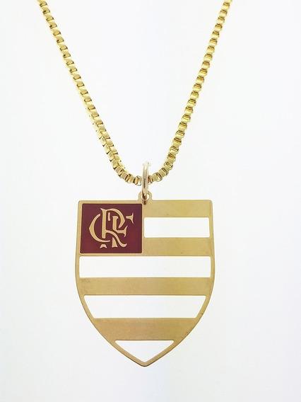 Pingente C. R. Flamengo + Corrente Folheado Ouro. C3p716