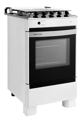 Fogão de piso Brastemp Clean BFO4N multigás 4 queimadores branco 110V/220V porta com visor 62L