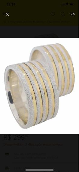 Aliança Prata E Ouro 10mm