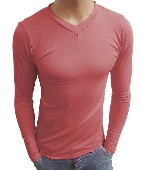 Blusa Camiseta Gola V Rasa Viscolycra Manga Comprida
