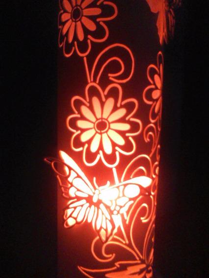 Luminária Pvc Floral Com Borboletas