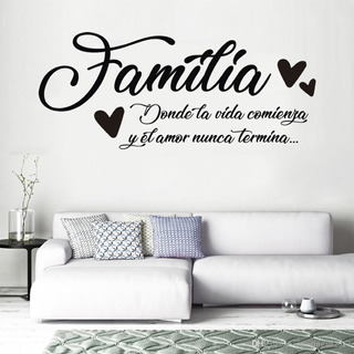 Vinil Sticker Decorativo Frase Familia 60x130cm Para Pared