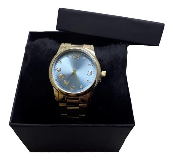 Relógio Dourado Feminino Fundo Azul Com Caixa Luxo Moderno
