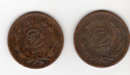 Imagen 1 de 2 de Moneda 2 Centavos Monograma  1921 Bronce