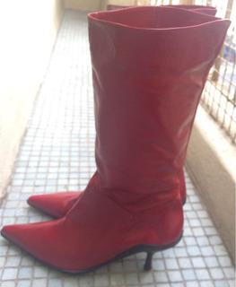 Botas Stilettos Cuero Charol Rojo Media Caña Nro.37 Nuevas
