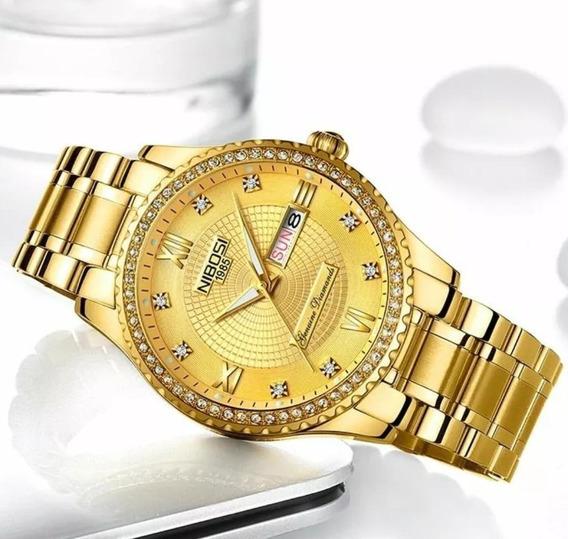 Relógio Feminino Blindado Nibosi Vidro Safira Dourado Preto