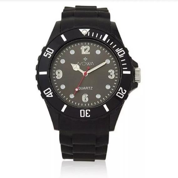 Relógio Unisex Nowa De Borracha Preto Nw0521k C/ Kit