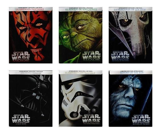 Star Wars Steelbook Episodios 1 2 3 4 5 6 Paquete Blu-ray
