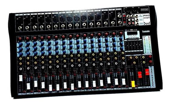 Mesa De Som Bluetooth Usb Mixer Mp3 Digital 16 Canais