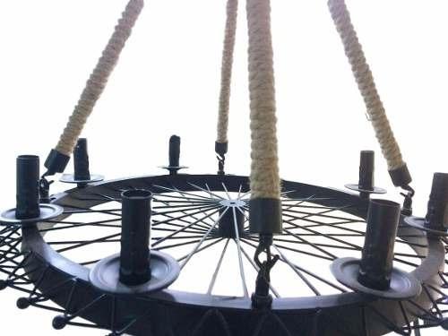 Lustre Roda Rustica De Ferro Preto Com 8 Bocais Lampada E14