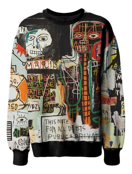 Casaco Blusa Moletom Unissex Basquiat Graffiti Swag Retro Mt