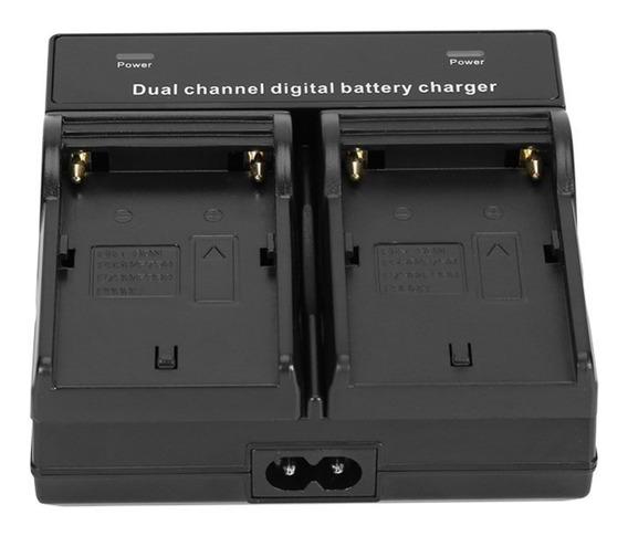 Carregador Duplo Bateria Sony Np-f970 F550 F570 F750 Indicador De Carga
