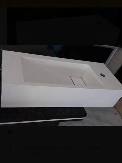 Lavatório Em Porcelanato Branco 0.60x0.40x 0.15 Cm De Altura