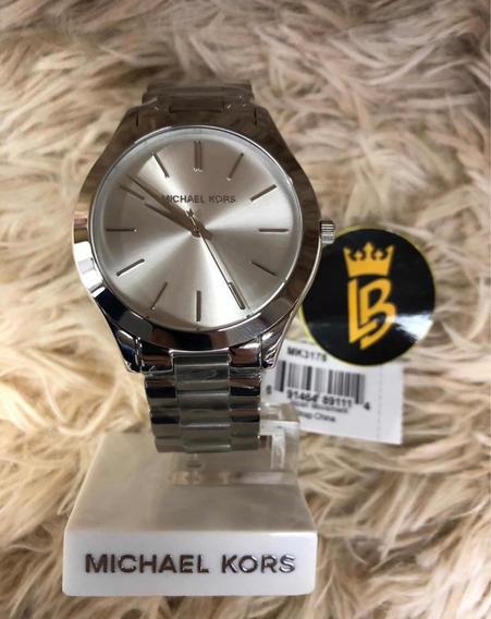 Relógio Prata Mk3178 Slim, Original, Garantia Com Caixa