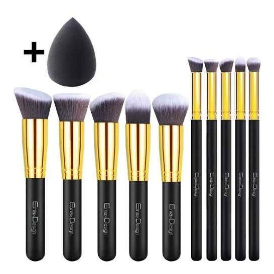 Kit Pincel Maquiagem Com 10+1 Pcs Emaxdesign Importado Eua