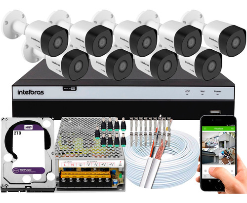 Kit Cftv 9 Câmeras Intelbras 3230 B Full Hd 1080p 2tb Purple