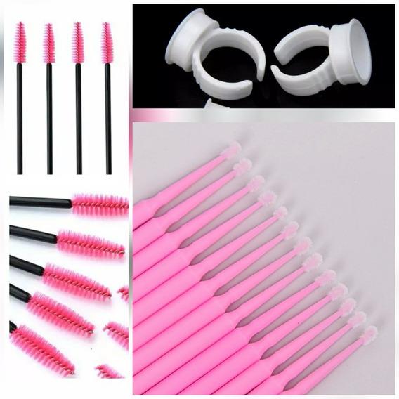 100 Batoques Anel + 100 Escovinhas Cílios + 100 Microbrush