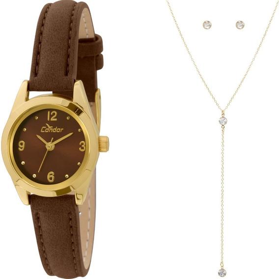 Kit Relógio Feminino Dourado Colar E Brincos Co2035kkz/k2m