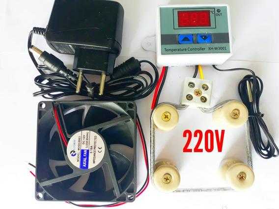 Kit Para Chocadeira 220v Termostato Resistencia Cooler Fonte