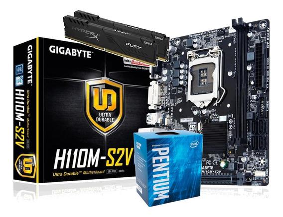 Kit Processador Intel Pentium G4560 Ga-h110m-s2v Hx 2x 8gb