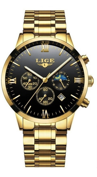Relógio Masculino Lige Casual Luxo Original Promoção Oferta