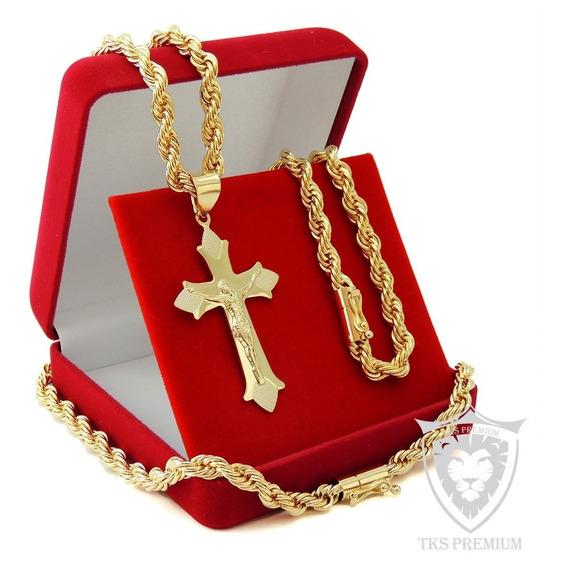 Corrente Masculina+pulseira+pingente Folheado Ouro18k Tk011