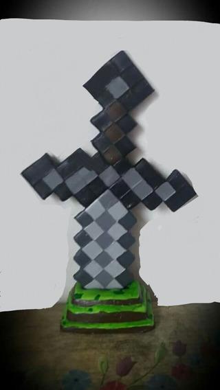 Adorno Para Torta Espada De Minecraft Personalizado