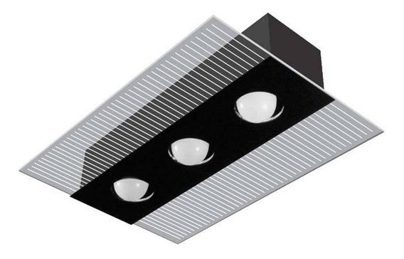 Plafon Lustre Luminária P/ Cozinha Retangular Cromo E Preto