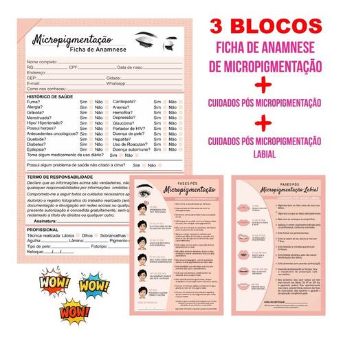 Kit Ficha Anamnese Micropigmentação+2blocos Cuidados Cliente
