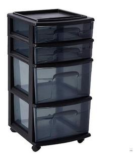 Organizador Carrito 4 Cajones Accesorios Oficina Negro