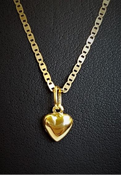 Cordão De Ouro 18 K Piastrine C/ Ping Coração