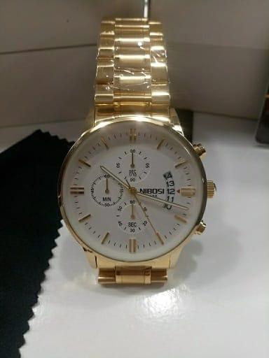 Relógio Masculino Nibosi Blindado Luxo Dourado Preto Prata
