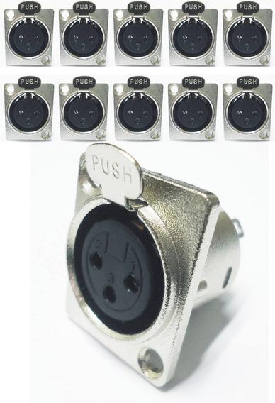 10 Plug Conector Xlr Canon Femea Painel Tipo Neutrik