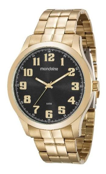 Relógio Dourado Mondaine Masculino Original Grande