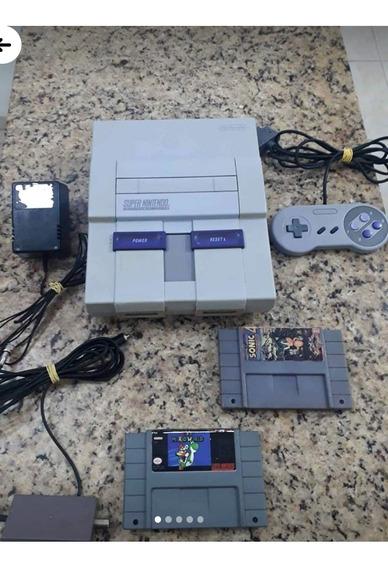 Vídeo Game Super Nintendo Conservado Funcionando C/ 2 Fitas