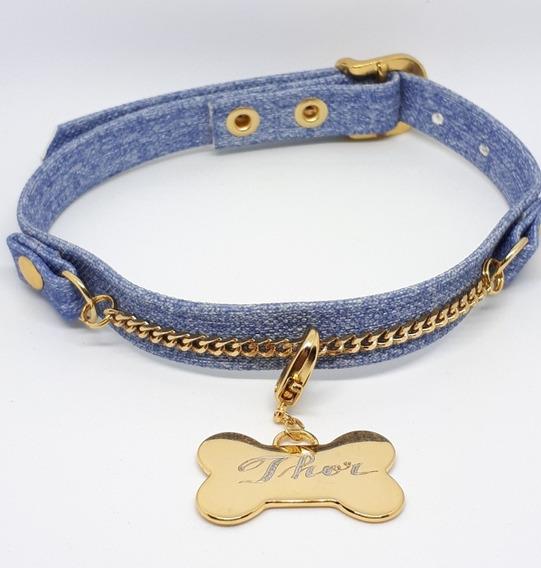 Coleira Pet Cachorro - Corrente - Personalizada