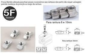 Kit Porca Martelo (porca T) M6 - Canal 10/11 (30 Peças)
