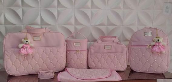 Bolsa Bebe Kit Completo Maternidade Menino Menina Pérola