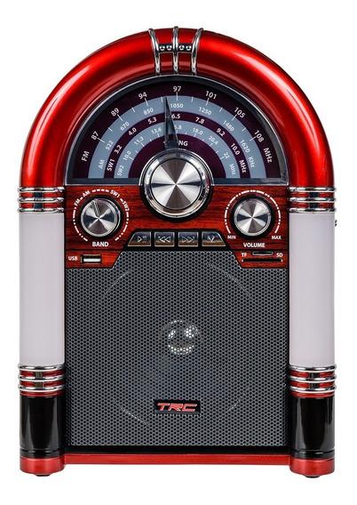 Caixa De Som Trc 210 Retrô 35w Rms Bluetooth Preta Vermelha
