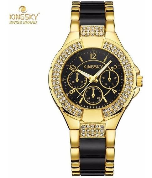 Relógio Feminino Dourado Com Porcelana Preta