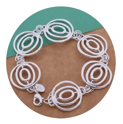 Imagen 1 de 4 de Pulsera Brazalete Mujer Plata Ley .925 Circulos Elegante