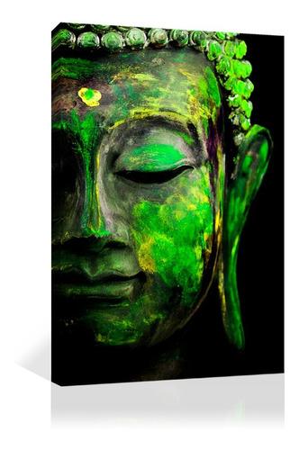 Imagen 1 de 9 de Cuadro Decorativo Canvas Espiritualidad Buda Colorido Verde