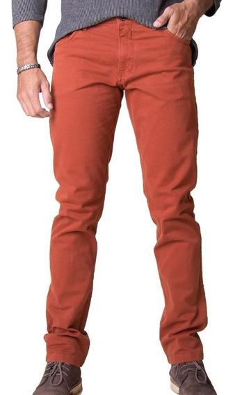 Calça Masculina Jeans Sarja Com Lycra Plus Size Cor Telha