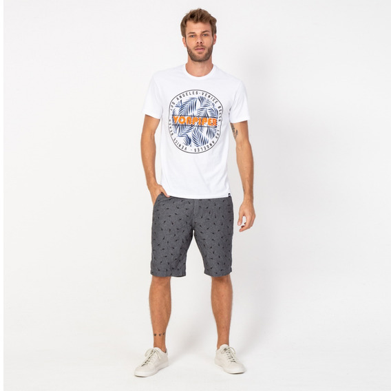 Camisa Casual Masculina T-shirt Folhas Branco Vonpiper