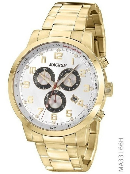 Relógio Magnum Masculino Multifunção Dourado Ma33166h