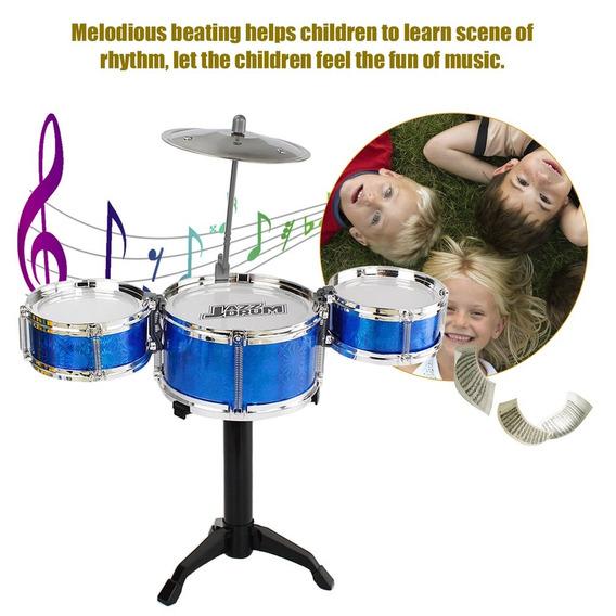3-piece Crianças Drum Set Crianças Júnior Drums Kit Simul