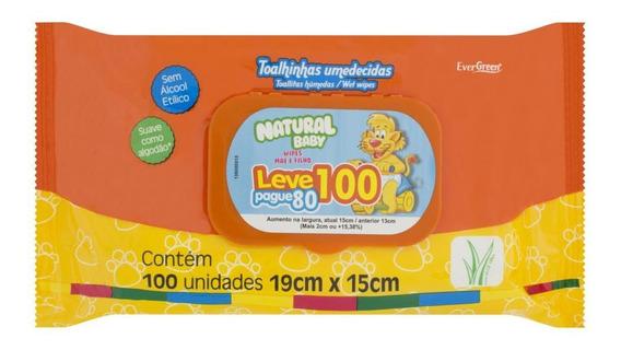 Lenços Umedecidos Natural Baby Wipes Pacote Leve 100 Pague 80 Unidades