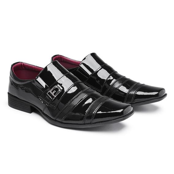 Sapato Social Italiano Confortável Bico Quadrado Carteira