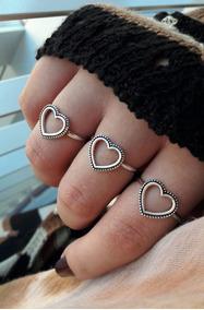 Anel Coração Vazado Boho Prata 925 Feminino