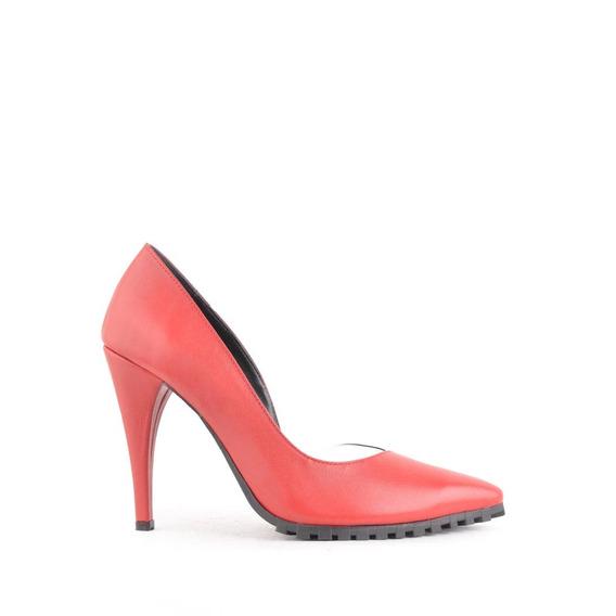 Zapatos De Cuero Taco Alto Mujer Rojo Nina - Ferraro -